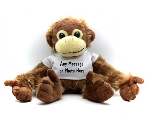 Personalised Monkey Teddy Bear N0 - Any Text / Photo